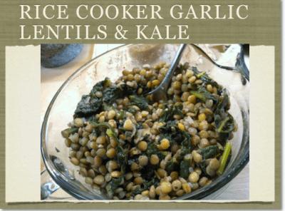 Rice Cooker Garlic Lentils & Kale
