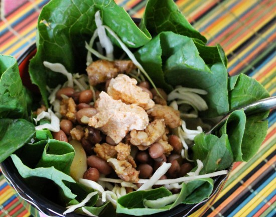Soy Curl and Pinquito Bean Burrito Bowl | JL Fields | JLgoesVegan.com