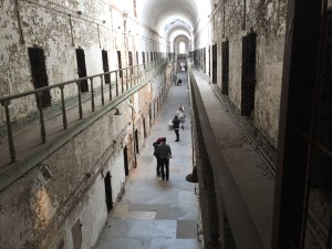 View of a cell block in Eastern State Penitentiary.