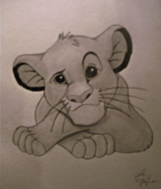 A hand drawing of Simba from Disney's The Lion King.