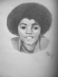 Another one of my many hand drawn Illustrations composed by graphite pencil, of a young Michael Jackson.