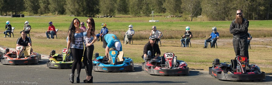 Fire & Ice Girl's at Extreme karting Pimpama with Karting racer keeping close eye over them.