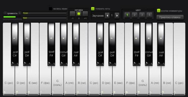 Пианино онлайн с нотами на клавиатуре компьютера ...