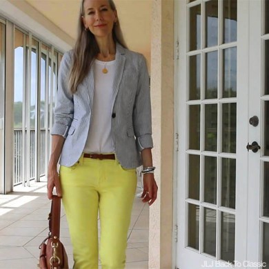 Video  Classic Fashion Over 40 50  Preppy Blue Seersucker Blazer      Video  Classic Fashion Over 40 50  Preppy Blue Seersucker Blazer  White  Crewneck Tee  Yellow Skinny Jeans  Tan Leather Bag  and Navy Tassle  Moccasins