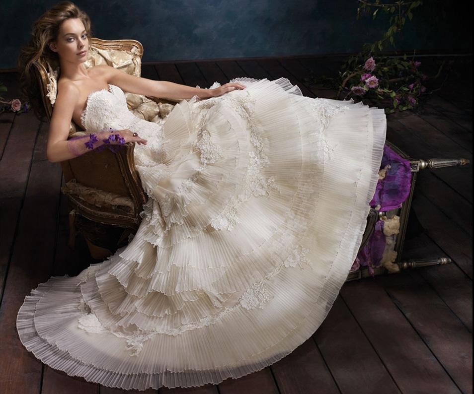 Niecey's Blog: Ivory Tiered Pleated Silk Organza Bridal