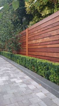 Horizontal Fence with Hedge