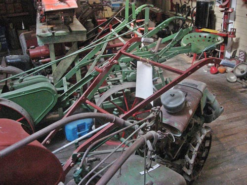 Rotary hoes, potato harvesters and other small motorised farm implements.
