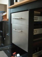 I designed and fabricated this desk while at AccuFab, Inc. The steel tube and hardware were purchased. The perforated and rigidized sheets were scraps.