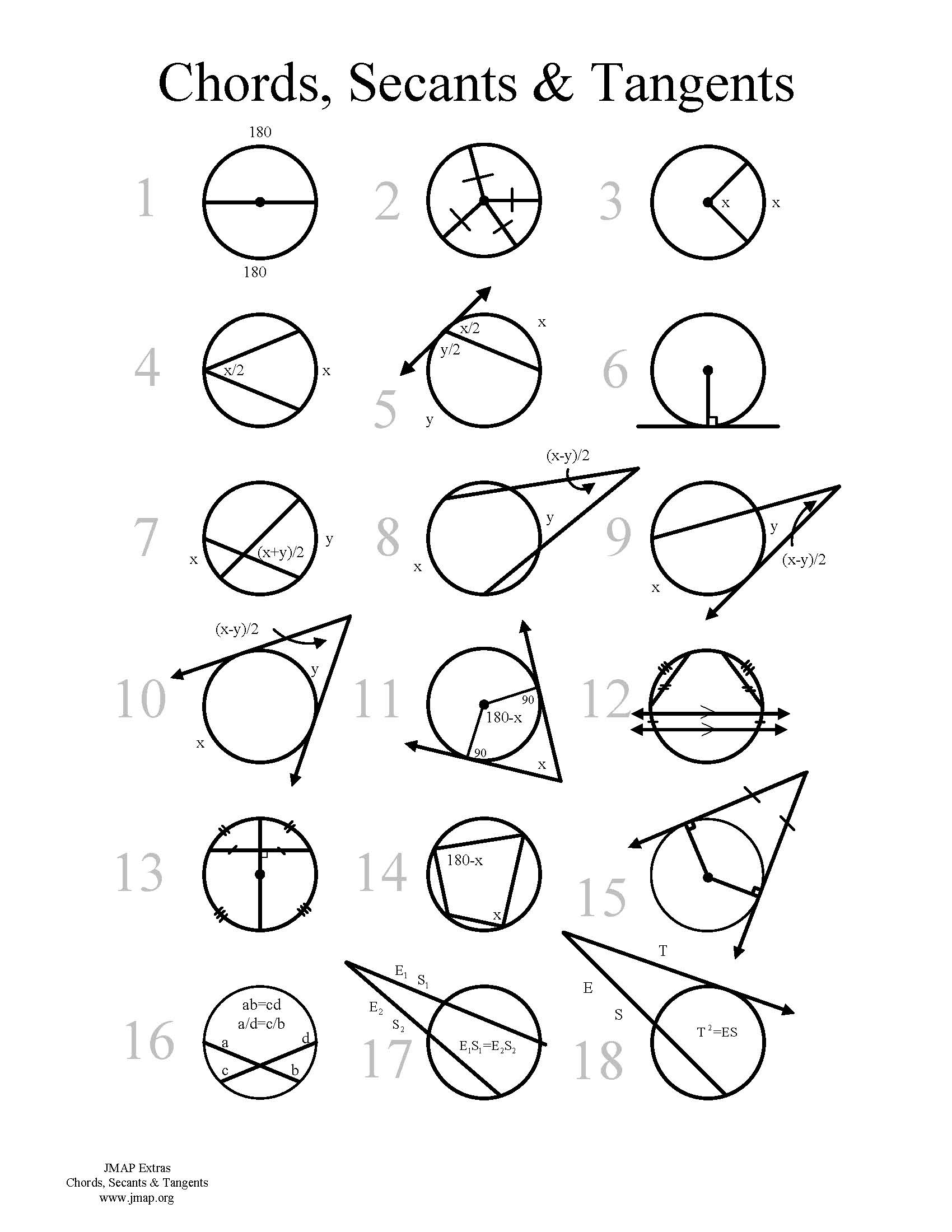 Geometry Chord Worksheet Solve