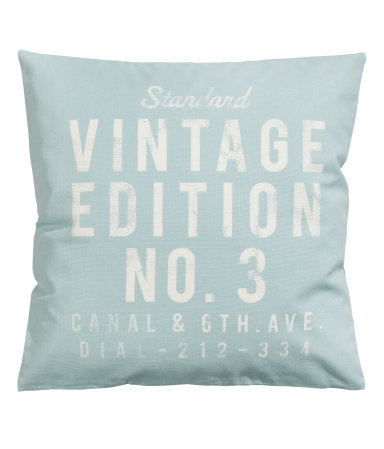 H&M- Canvas Cushion Cover in Light turquoise
