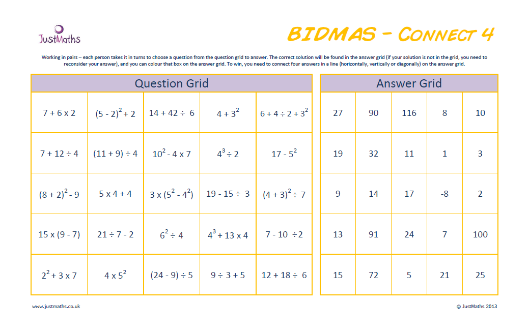 Connect 4 Bidmas Worksheet Justmaths