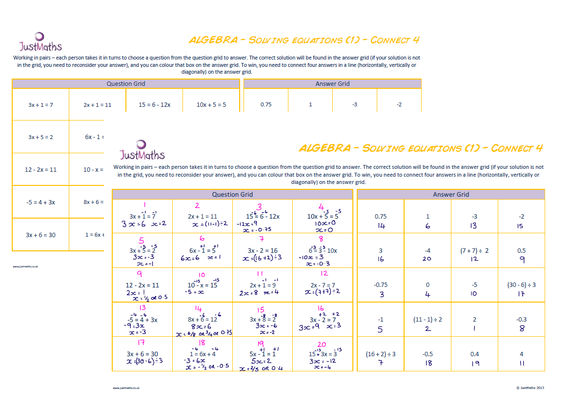 Solving Equations 1 Connect 4