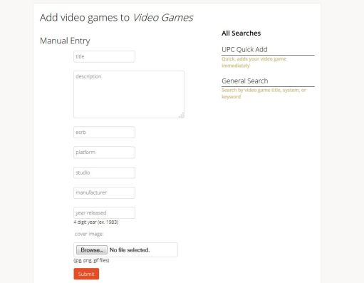 Manually enter items in Libib.com