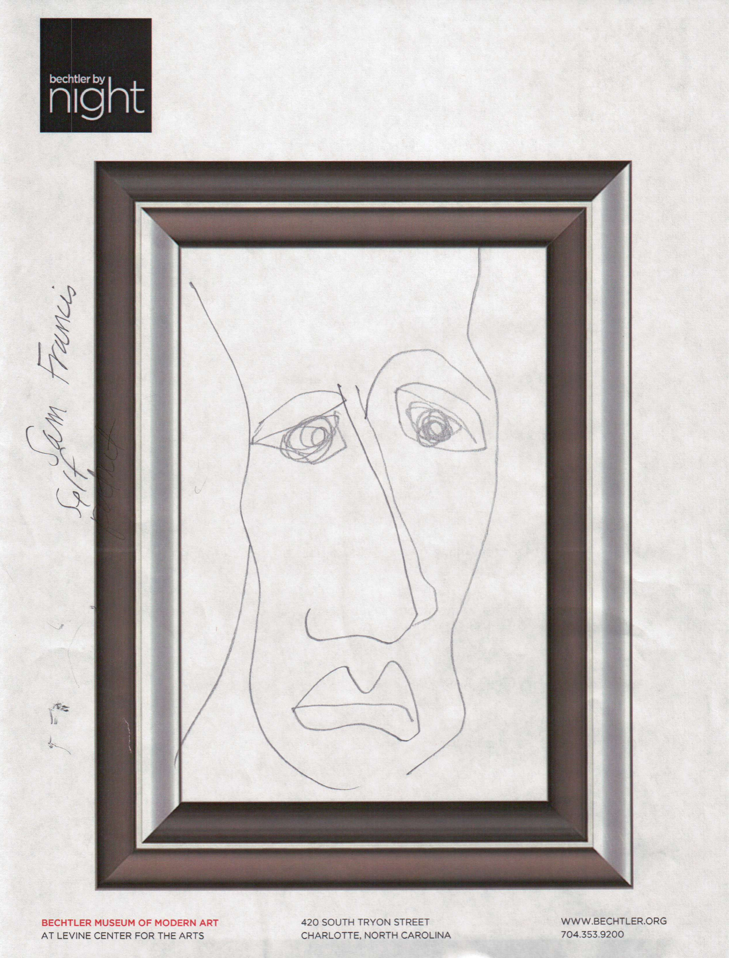 Jeannie M. Bushnell Draws her version of a sam francis self portrait