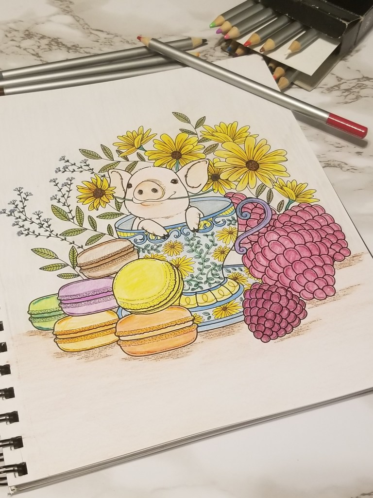 colored piggy with macaroons for coloring book day