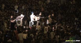 多個團體晚上在金鐘舉行反暴力集會,支持佔領運動。