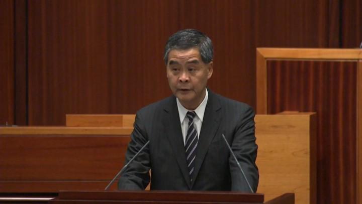 行政長官梁振英在最後一份《施政報告》,就競選承諾作出交代。(影片截圖)