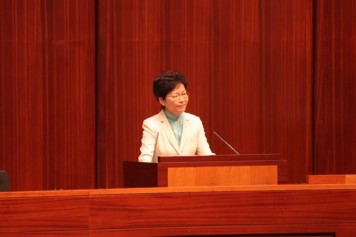 行政長官林鄭月娥指「明日大嶼」計劃的目的是為滿足未來香港的20、30年的發展,基建有持續性,非一次過投入所有資源。(譚淑琪攝)