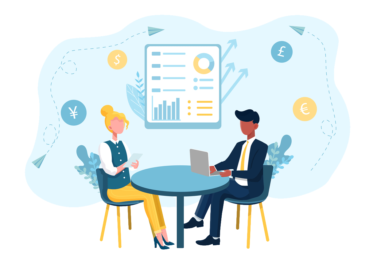 man and women having conversation across table business accountancy advice transparent background