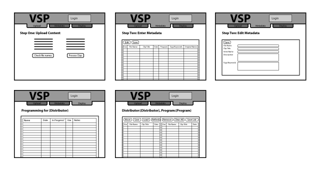 Main Screen Wireframes