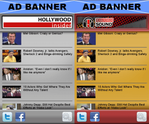 App mockups for Hollywood Insider and Underground Sound, two of Versaly's video IPs