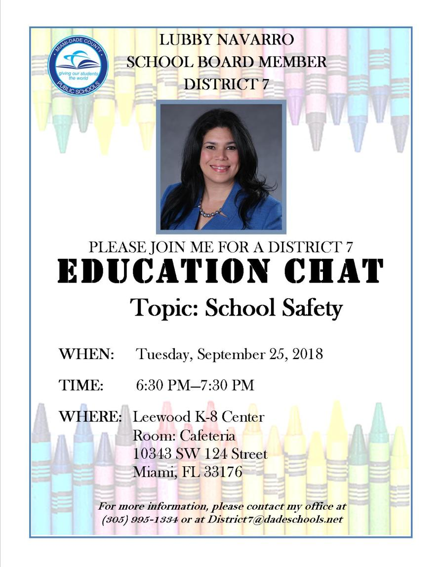 September 25, 2018 Ed-Chat Flyer for Leewood