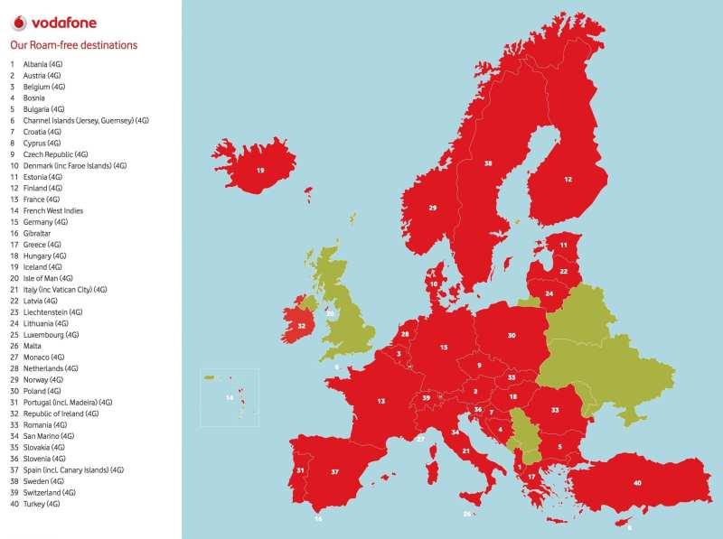 Vodafone European Roaming Destinations