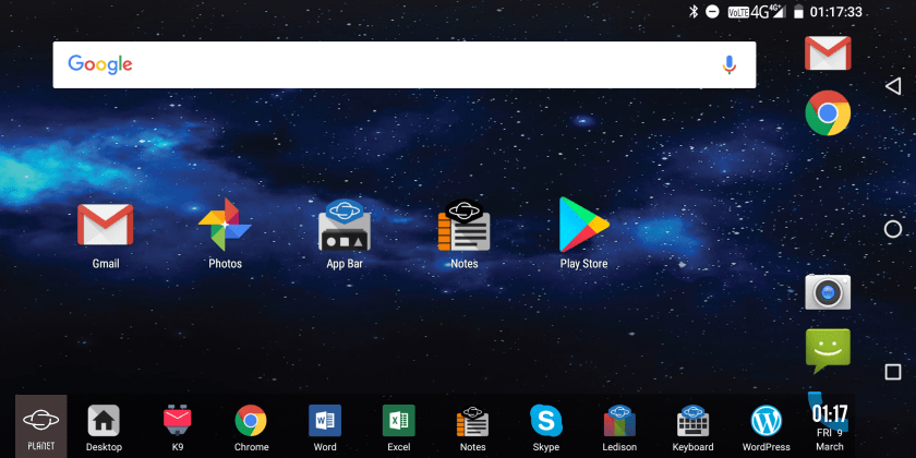 The Planet button launches the dock for easy access to your favourite apps