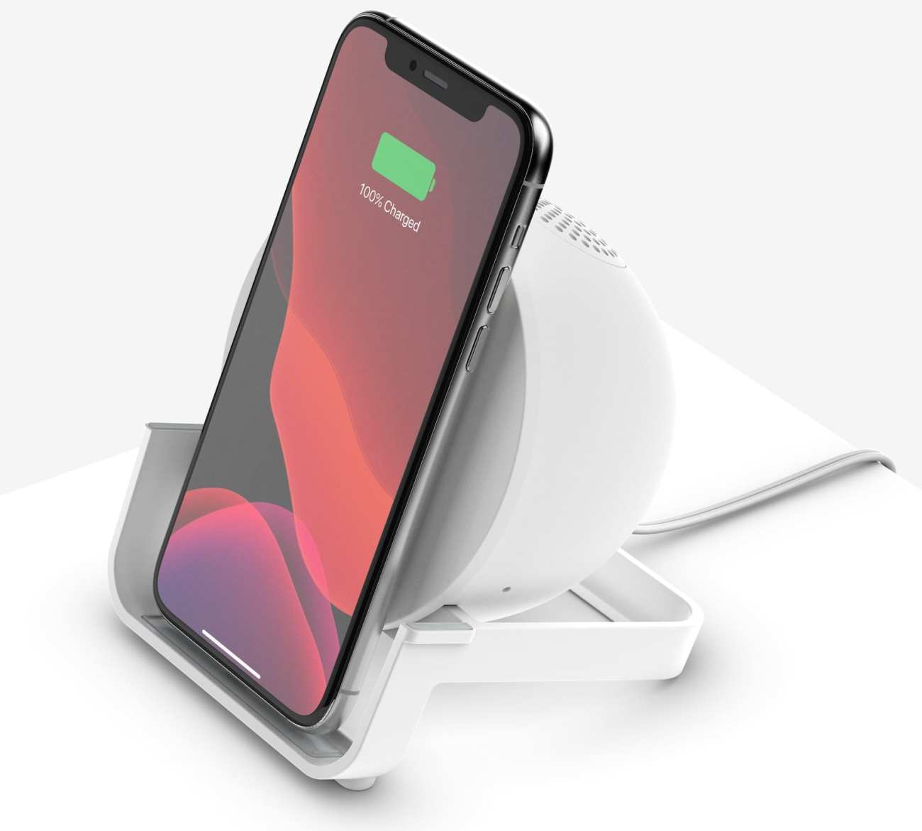 Wireless charging stand with speaker