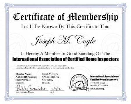 NACHI membership certificate