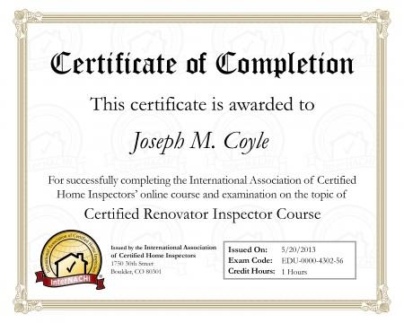 Home Renovations Inspector Certification