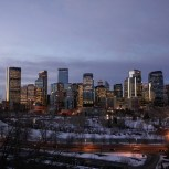 early morning view of downtown Calgary from Crescent Hill