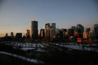 morning light on downtown Calgary love my morning commute