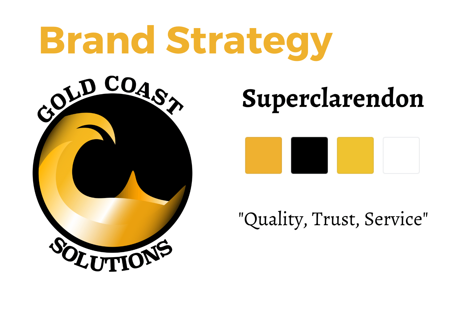 """Gold Coast Solutions Brand Strategy. This company came to me as two guys who worked in construction. They remodeled a few kitchens, as well as a backyard and the replaced a lot of windows. The owner was interested in growing and scaling the business. He said, """"I want to make a million dollars."""" Well. After some brand strategy and in-bound marketing, let's just say 2020 business income is at 2.5 million and it's only October. I started with the strategy. Joey envisioned a clean professional, trustworthy company. That was the biggest takeaway. People trusted him. I wanted to communicate that with clean, bold, contrasting colors. We also changed the name of the company to communicate the point that the brand stood for solutions, problem solving, quality, and relationships."""