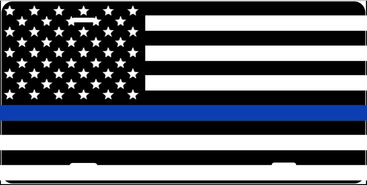 blue line flag license plate