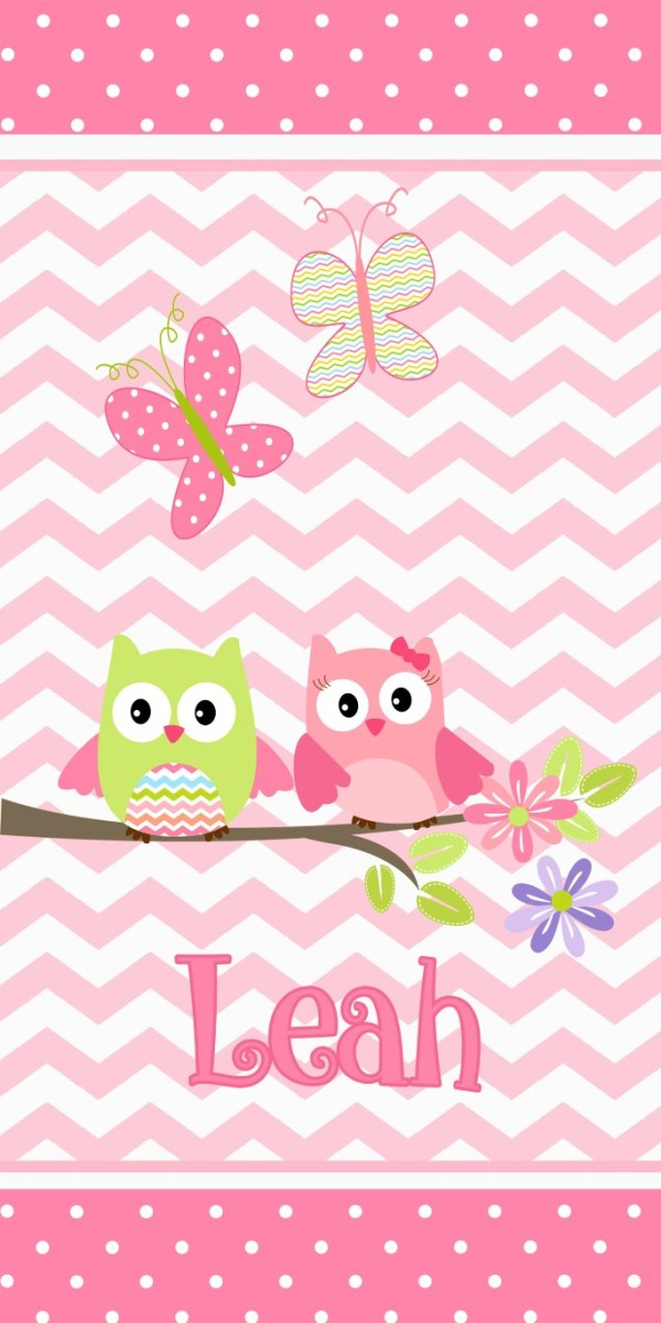 pink chevron with owls beach towel