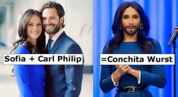 No les ha faltado imaginación a los que han comparado a Conchita Wurst con un clon de los príncipes Carlos Felipe y Sofía de Suecia.