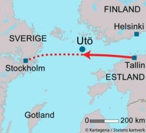 El mapa muestra donde se encontraba el «M/S Estonia» antes de hundirse. (Foto Kartagena / Statens kartverk) - Pulsar para ampliar