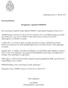 Comunicado de Prensa de la Casa Real danesa exigiendo rectificación a la revista «Her & Nu». Traducción en el texto del artículo. (Foto: Casa Real) - Pulsar para ampliar -