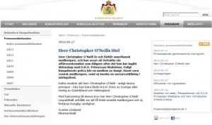 Comunicado de la Casa Real sueca donde se informa que Christopher O'Neill no será príncipe y ni duque tras la boda con la princesa Magdalena. (Foto: Captura web) - Pulsar para ampliar -