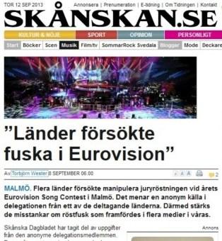 Captura del reportaje publicado por Skånska Dagbladet sobre Eurovisión 2013 en Malmö (Suecia) (Foto: Captura)