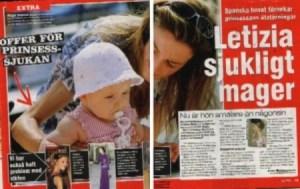 La enfermiza delgadez de Letizia, dice el titular del periódico sueco Expressen (Foto: captura pantalla) - PULSAR PARA AMPLIAR -