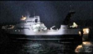 El pesquero «F/V Monte Meixueiro» cuando fue detenido por los patrulleros noruegos. (Foto: Kystvagten)