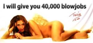 Póster de Tania Dervaux en las calles Antwerpen prometiendo 40.000 «blowjobs» a cambio de votos. (Foto: NEE)