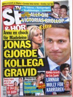 Portada de la revista sueca «Se & Hör» : Jonas ha dejado embarazada a una colega. (Foto: captura) - PULSAR PARA AMPLIAR -