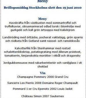 Menú en sueco publicado en la web de la Casa Real de Suecia.