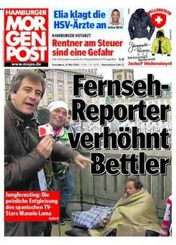 El titular de la portada del «Hamburger Morgen Post» lo dice todo: «Reportero de televisión desprecia a mendigo» (Foto: captura)