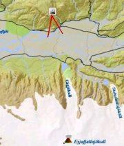 Mapa de la posición de la webcam frente al volcán de Eyjafjalla. (Foto: Mila.is) - PULSAR PARA AMPLIAR -