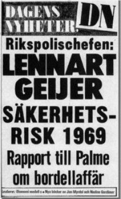 La portada del Dagens Nyheter del 18 de noviembre de 1977 que destapaba el escándalo de la existencia del burdel de los ministros de Palme. (Foto: archivo)