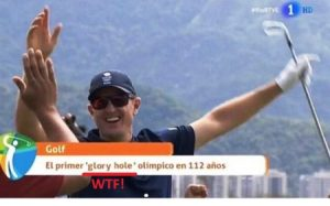 Tremenda metedura de pata de TVE y ridículo en todo el mundo porque no saben que en golf, la expresión «hoyo en uno» se dice «hole in one» en inglés y no la sucia y sexual «glory hole».